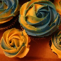 Yellow And Blue Rose Cupcakes