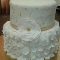 50Th Anniversary *White and gold ruffled fondant cake for a 50th anniversary.