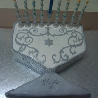Chanukah Menorah Cake Half sheet cake, bottom cut and then used as base. Piroutte cookies used for candles, decorated w sugar sand and gumpaste flames.Cricut...
