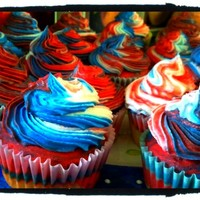 4Th Of July Cupcakes!! I make these cupcakes for my family for the 4th of July. The cake is a yellow cake mix, which I seperated and colored equal amount blue and...