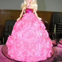 Barbie Doll Cake Chocolate cake with buttercream frosting with a real Barbie doll.