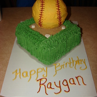 "Softball Cake Softball made from ""ball' pan and covered in bc frosting. Field covered in brown sugar and bases made from gumpaste."