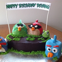 Angry Birds Space The birds are cake - made using the wilton mini wonder mold pan and covered in fondant decorations.