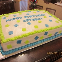 Green And Blue 9x13 double layer sheet cake with fondant accent squares.
