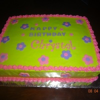 Lime Green And Pink 11X15 Sheet Cake