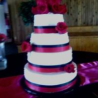Quick Cell Phone Picstill Waiting On Those From The Photographer 4 Tier 6 8 10 12 Hot Pink And Black Buttercream With Satin Ribbon *quick cell phone pic....still waiting on those from the photographer. 4 tier 6-8-10-12 hot pink and black. Buttercream with satin ribbon...