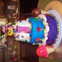 Candyland Made this cake for my friends daughter as I do every year. That is a bubblegum machine inside the cake. Real gum and can candy. Ice cream...
