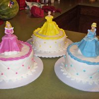 Princess Cakes For A Sweet Princess  I did these cake for the same sweet girl since she was born. This year she wanted Cinderella, Sleeping Beauty and Belle. All white cake...