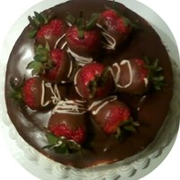 Rich Chocolate Cake With Fresh Strawberries