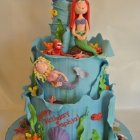 Under The Sea Sophia's 5th Birthday Celebration. 8 and 10 inch cakes covered in modeling chocolate. Figures done in fondant with tylose added....