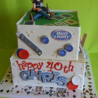 A 40Th Birthday! For a lady who loves her Bud Light, Texas Hold'Em and playing horseshoes! All edible, including cards, poker chips, bottle caps, and...