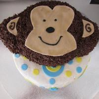 "Monkey Cake - 1St Birthday 6"" round and RKT for Monkey Face, 9""round for bottom layer."