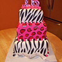 Sweet 16 Cake animal print sweet 16 cake-- so fun to make!