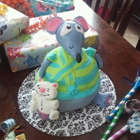 Toopy And Binoo vanilla with lemon raspberry filling covered in fondant head was made with RKT grand nieces 2nd birthday