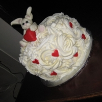 Valentines Bunny vanilla cake with chocolate ganache bunny is made from fondant and gumpast