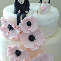 Pink Flowers Wedding Cake
