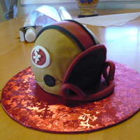 Super Bowl San Francisco 49Er Helmet Ball Cake Pan with a cut out in front covered in fondant, kind of last minute so I could not add a full face mask. I think it turned out ok...