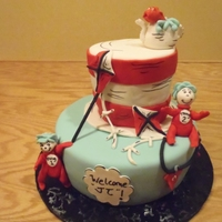 Cat In The Hat Baby shower cake, the theme of the babies room is Cat in the Hat.