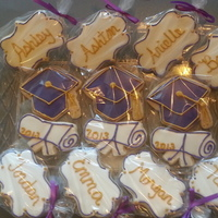 Cookies For Hiram High School Grads Personalized Graduation Sugar Cookies covered with Royal Icing in Purple and Gold - Class of 2013