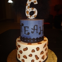 Purple Leopard Print 8in+4in frosted in buttercream with fondant accents and feather topper.