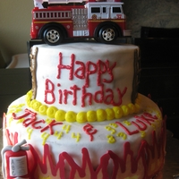 Fire Truck Birthday Cake Fire themed birthday cake for two cousins sharing a birthday. Chocolate cake with oreo filling. Iced in buttercream. Fondant fire...
