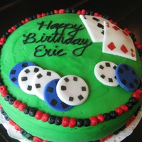Poker Birthday Inspired by so many CC cakes--thanks! Chocolate mint cake with oreo mint truffle filling. Iced in vanilla buttercream. Fondant cards and...