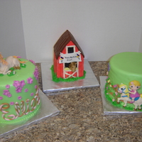 Horse Themed Birthday Cake Trio a photo of all three cakes together...fun cake to do