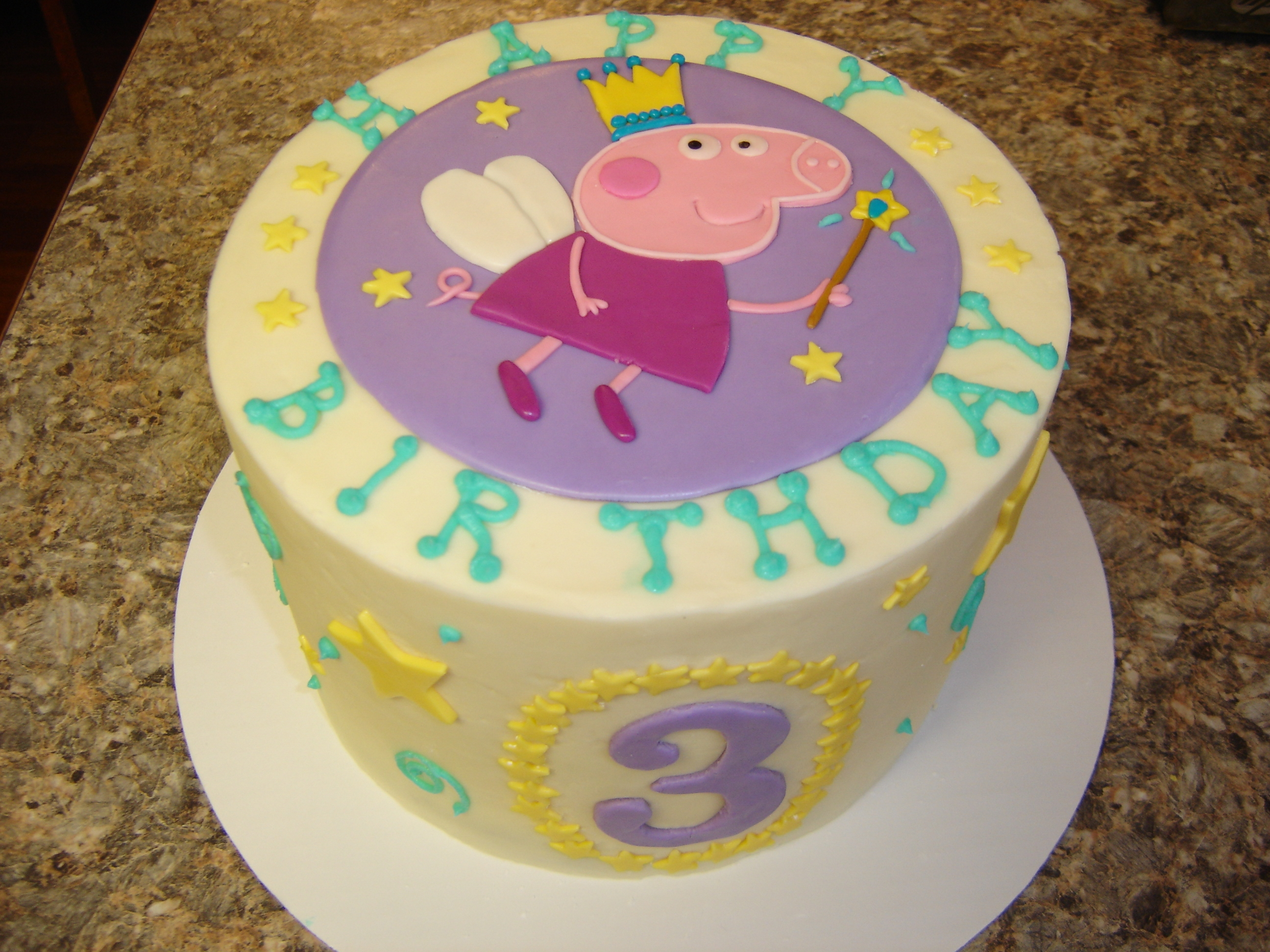 Peppa Pig Birthday buttercream cake with fondant accents