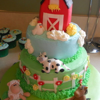 Barnyard Birthday I made this for a friends little boy. Chocolate and vanilla cakes with BC icing and fondant accents. Barn is RKT covered in fondant. Smash...