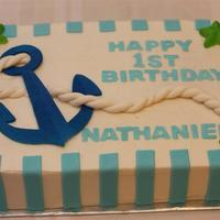 Anchors Aweigh 1St Birthday Cake   Made to match the paper goods. BC with fondant decorations