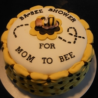 Bumble Bee Bab-Bee Shower Three tier devils food with caramel, chocolate and crushed cashews in each layer. Tried to use billowing effect for a 'hive' look...