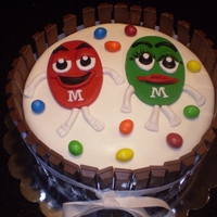 Mike And Traceys Combined Bday Cake Birthday cake for my husband who loves peanut m&ms and for my sister who is the green female peanut m&m who celebrate their...