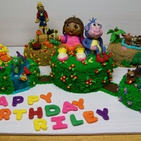 Dora The Explorer Cake Vanilla butter cake with chocolate filling. All decorations are hand sculpted and edible.