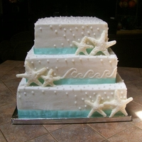 Starfish Wedding Cake The bride got the inspiration from a cake she found online but wanted it square.