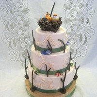 3 Tier Chocolate And White Wedding Cake With Buttercream Icing Twigs Were Gumpaste Mixed With Ground Nuts For Texture And Coated With Choc... 3-tier chocolate and white wedding cake with buttercream icing. Twigs were gumpaste mixed with ground nuts for texture and coated with...