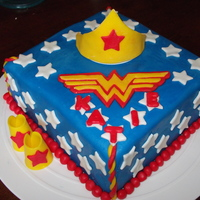 "Wonder Woman Cake This is a 12"" square, 2-layer cake with buttercream and MM fondant."