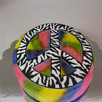 Tie Dye Cake For a little girl who loves tie dye and zebra print..... airbrushed tie dye and fondant zebra peace sign.