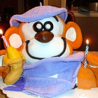 Monkey Cake Monkey with banana hat & Scarf