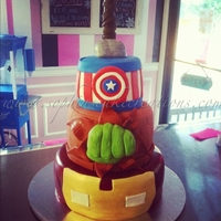 Superhero Cake Thor, Captain America, Hulk, and Iron Man
