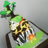 Jungle Baby Shower Cake   Jungle, tree, lion, zebra,monkey, and snake.