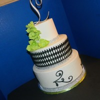 Wedding Cake   Wedding Cake, Black, White, Green, Round, Flowers