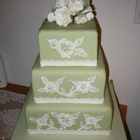 Fondant With Brushed Embroidery Gumpaste flower topper