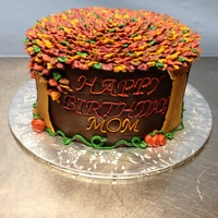 Fall Tree Birthday Cake All in buttercream with tree trunks made from butterscotch chips.