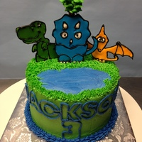 Dino Cake Buttercream With Color Flow Icing Dino cake. Buttercream with color flow icing.