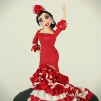 "M Sweet ""gitana""   Cake topper made out of fondant 10 "" tall (25 cm). Hope you like it!!"