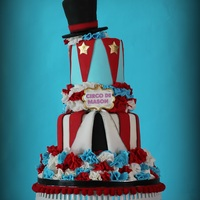 Circus And Ruffles Cake!!   This circus themed cake is vanilla cake with vanilla buttercream cake. All the decoratios are made out of fondant. Hope you like it!!