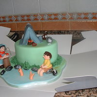 Camping Day Out boys birthday cake