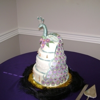 Peacock Wedding Cake Hand made and painted