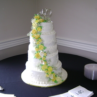 Yellow Rose Wedding Cake Buttercream, royal and gum paste flowers.