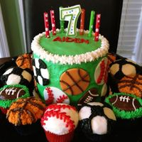 Buttercream And Fondant Sports Ball Birthday Cake And Cupcakes *Buttercream and fondant Sports Ball Birthday Cake and Cupcakes